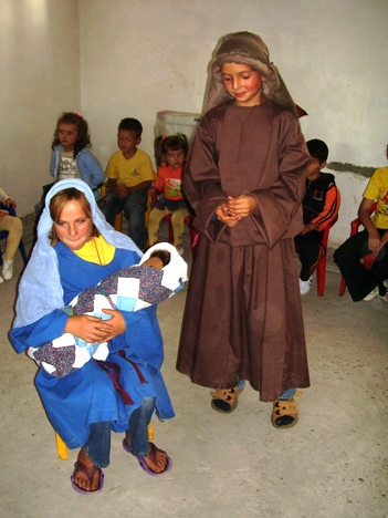 Joseph, Mary and Jesus at bible Club for Children