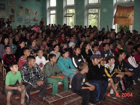 The Passion of the Christ movie show, Russian School, Cupcini. 500 people came watch the movie.